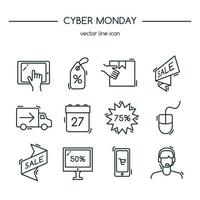 Cyber monday. Line icons set. Vector illustration.