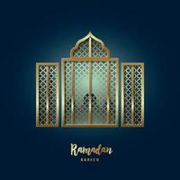 Mosque Window illustration. Greeting card with arabic arabesque pattern and text Ramadan Kareem. vector