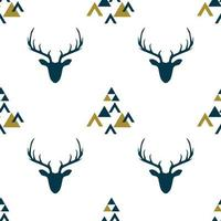 Seamless pattern with depicted silhouettes of Scandinavian deer. vector