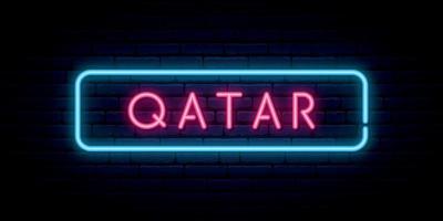 Qatar neon sign. Bright light signboard. vector