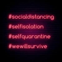 Coronavirus protect concept. Bright Self-quarantine hashtags set. Typography vector illustration in neon style