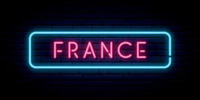 France neon sign. Bright light signboard. vector