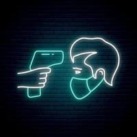 Fever check line icon in neon style vector