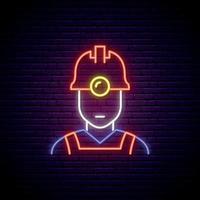 Oilman neon sign. Bright light man worker icon on dark brick wall background. vector