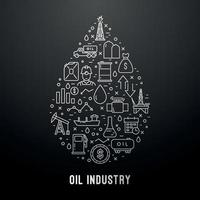 Modern oil industry line icons set vector