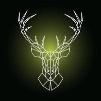 Geometric reindeer head illustration. Ornamental stag head. vector