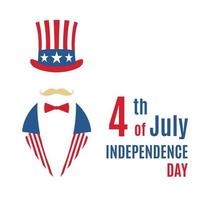 Greeting card with minimalist Uncle Sam portrait. Happy Independence Day USA. vector