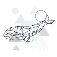 Ilustración de ballena poligonal. cartel geométrico de animales marinos. vector
