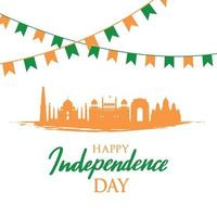 Greeting card with Indian landmarks. Independence Day of India, 15th August. Indian landscape. vector