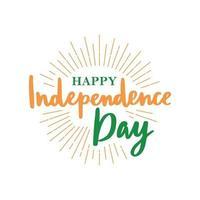tarjeta de felicitación con letras para celebrar el día de la independencia de la india. vector