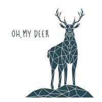Polygonal Deer Print with lettering. Scandinavian style poster. vector