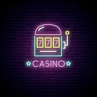 Neon sign of casino vector