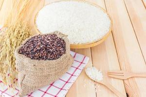 Thai jasmine white rice and riceberry rice