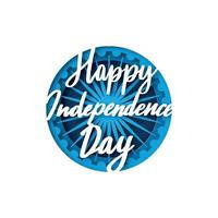 Greeting card with lettering for celebrating Independence Day of India.15th August. Paper cut style. vector