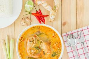 Tom yam kong soup, typical in Thailand