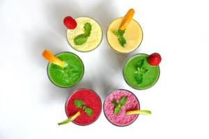 Top view of smoothies
