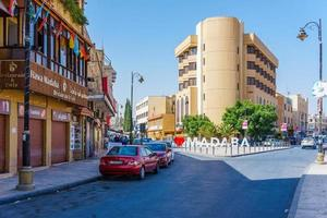 El centro de la ciudad de Madaba en invierno, Jordania, 2018