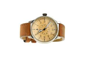 Analog wrist watch with brown dial and leather bracelet photo