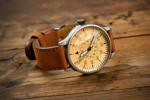 Brown leather wristwatch photo