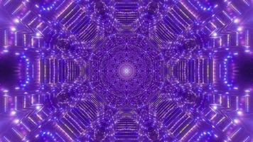 Ilustración 3d de caleidoscopio de formas y luz azul, púrpura y blanca para fondo o papel tapiz foto