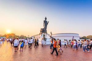 People at the Buddha statue, Phutthamonthol, Thailand, 2014