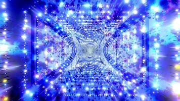 Blue and white light and shapes kaleidoscope 3d illustration for background or wallpaper