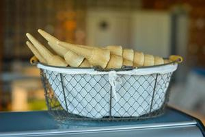 Ice cream cones in a basket