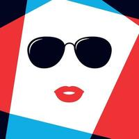 cara de mujer modelo en gafas de sol de moda. vector