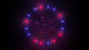 Blue, red, and white light and shapes kaleidoscope 3d illustration for background or wallpaper
