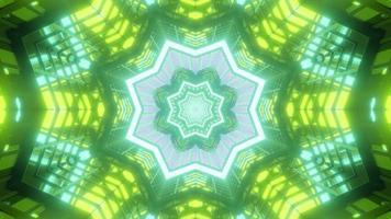 Ilustración 3d de caleidoscopio de formas y luces verdes, amarillas, azules y blancas para fondo o papel tapiz