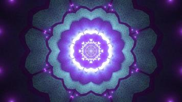 Blue, purple, and white lights and shapes kaleidoscope 3d illustration for background or wallpaper photo