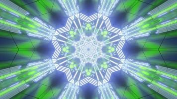 Blue, green, and white lights and shapes kaleidoscope 3d illustration for background or wallpaper photo
