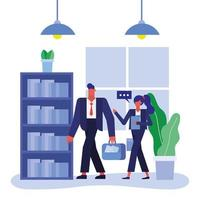 Flat design businesspeople in the office vector