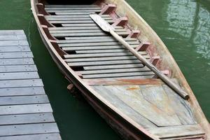 Wooden boat with paddles photo