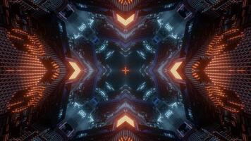 Blue, orange, and white lights and shapes kaleidoscope 3d illustration for background or wallpaper photo
