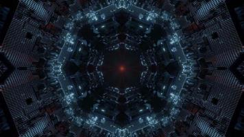 Blue, red, and white lights and shapes kaleidoscope 3d illustration for background or wallpaper photo