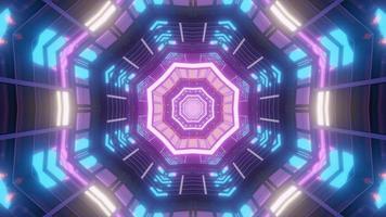 Ilustración 3d de caleidoscopio de formas y luces azules, púrpuras y blancas para fondo o papel tapiz