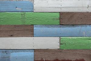 Multicolored wood plank background photo