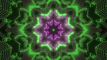 Green, purple, and white lights and shapes kaleidoscope 3d illustration for background or wallpaper photo