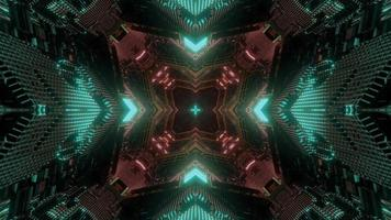 Green, brown, and white lights and shapes kaleidoscope 3d illustration for background or wallpaper photo