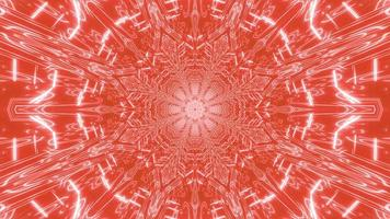 Red, orange, and white lights and shapes kaleidoscope 3d illustration for background or wallpaper photo