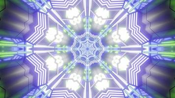 Blue, purple, green, and white lights and shapes kaleidoscope 3d illustration for background or wallpaper photo