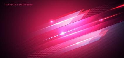 Abstract banner red geometric with lighting red effect background with space for your text. Technology concept. vector