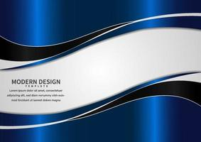 Abstract banner web template blue and black curve with copy space for text on white background. vector