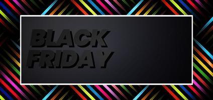 Viernes negro mejor oferta patrón de rayas diagonales de colores sobre fondo negro.