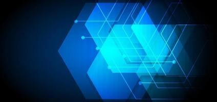 Abstract blue background geometric hexagon overlapping with lines lighting effect. Technology concept. vector