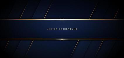 banner fondo diagonal geométrico azul oscuro con línea dorada y espacio para texto. estilo de lujo. vector