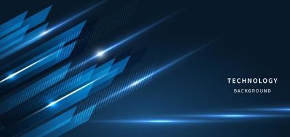 Abstract technology geometric blue color with blue light on black background. vector