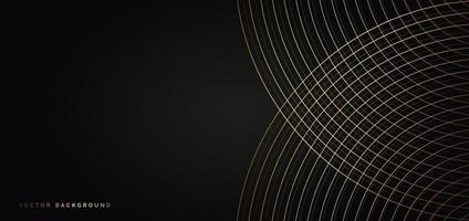 Abstract luxury curves lines overlapping on black background with copy space for text. vector
