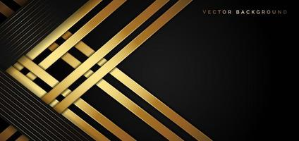 Abstract template black triangle background with striped lines golden. Luxury style. vector